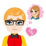Boy Broken Heart. Sad nerd boy with heart broken thinking about the girl he loves vector illustration
