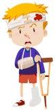 Boy with broken leg and arm. Illustration royalty free illustration