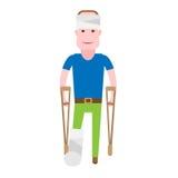 Boy with broken leg. Illustration of sick boy on white background stock illustration