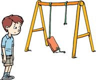 Boy and a broken swing. At the playground stock illustration
