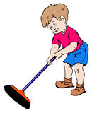 Boy with a broom Royalty Free Stock Photo