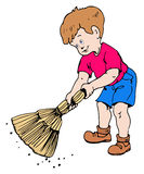 Boy with a broom Stock Photography
