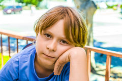 Boy with brown hair Stock Photos