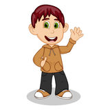Boy with brown jacket and black trousers waving his hand cartoon Stock Photo