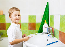 The boy brushes teeth. Royalty Free Stock Images