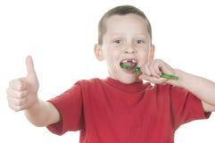 Boy brushing Stock Photography