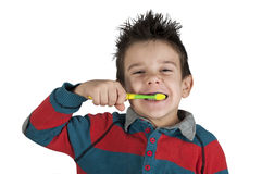 Boy brushing his teeth Royalty Free Stock Images