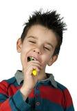 Boy brushing his teeth Royalty Free Stock Photos