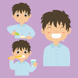 Boy Brushing Teeth Activity Vector Collection Royalty Free Stock Images
