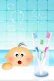 Boy brushing teeth stock illustration