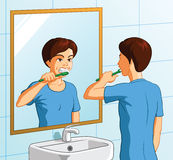 Boy brushing teeth illustration Royalty Free Stock Images