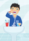 Boy Brushing Teeth Vector Illustration Royalty Free Stock Photos