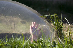 Boy in a bubble Stock Photo