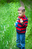 Boy and bubbles Royalty Free Stock Photography