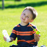 Boy with bubbles set Stock Images