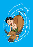 Boy buffalo canal water nature vector Royalty Free Stock Photo