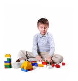 Boy build house royalty free stock photography