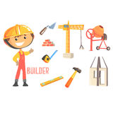 Boy Builder, Kids Future Dream Construction Worker Professional Occupation Illustration With Related To Profession Royalty Free Stock Photos