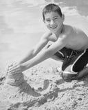 Boy Building Sand Castle Royalty Free Stock Photos