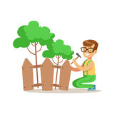 Boy Building Wooden Fence Around Plants Helping In Eco-Friendly Gardening Outdoors Part Of Kids And Nature Series Royalty Free Stock Images