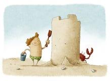 Free Boy Builds Big Sand Castle Stock Images - 41136854