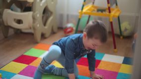 The boy built the building, the tower fell, the child was very upset. HD 1920x1080 stock video footage