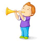 Boy with Bullhorn. Editable vector illustration of boy blowing bullhorn Royalty Free Stock Image