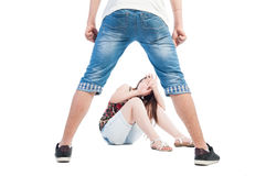 Boy bullying girl. Concept on white background Royalty Free Stock Photo