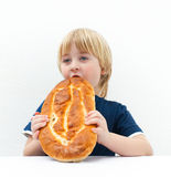 Boy with bun Stock Photography