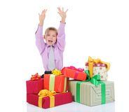 Boy with a bunch of gifts Royalty Free Stock Photography