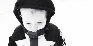 Boy Bundled Up in Snow Royalty Free Stock Image