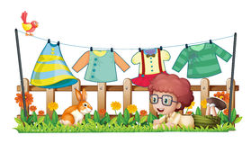 A boy and a bunny in a garden with hanging clothes Royalty Free Stock Photo