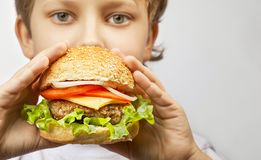 Boy with burger. The happy boy with burger royalty free stock photos