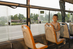 Boy on bus Stock Photo