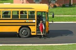 boy bus getting off school Στοκ Εικόνες