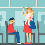 Good manners. the boy on the bus gives way to woman with baby. The boy on the bus gives way to woman with baby Royalty Free Illustration