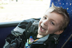 Boy in bus Stock Photography