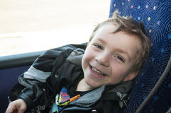 Boy in bus Royalty Free Stock Photo