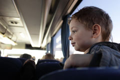 Boy in bus Stock Photos