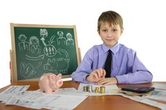 Boy is a business project Royalty Free Stock Photos