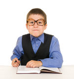 Boy in a business suit with diary Stock Photography