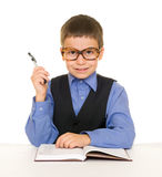 Boy in a business suit with diary Royalty Free Stock Images