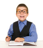 Boy in a business suit with diary Stock Image