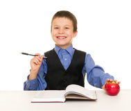 Boy in a business suit with diary Royalty Free Stock Image
