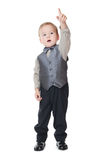 The little boy in a business suit shows a finger Stock Photo