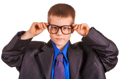 Boy businessman in big suit. isolated Royalty Free Stock Photo
