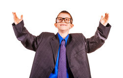 Boy businessman in big suit. isolated Royalty Free Stock Photography