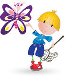 Boy with butterfly Royalty Free Stock Photography