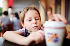 Boy in cafe Royalty Free Stock Photos