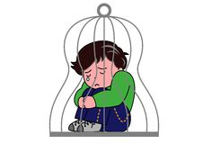 A boy in a cage. A boy who lost his freedom stock illustration